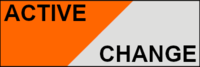 "Sticker ""Active - Change"" Orange/Colorless 30x10mm"